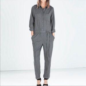 Zara Mechanic Style Utility Jumpsuit Grey Size S